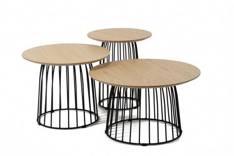 Beistelltisch 3er Set Holz und Metall Natur und Schwarz - Vorschau