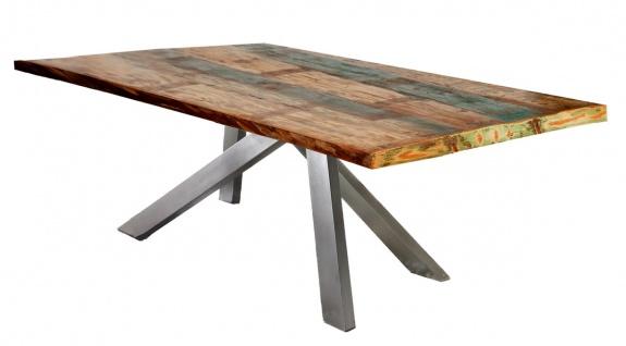 TABLES&Co Tisch 160x85 Altholz Bunt Metallgestell Silber