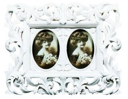 Doppel Bilderrahmen Liliana Polyresin Weiß