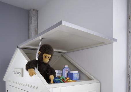 Kleiderschrank Kinder Babyzimmer Schrank Kiefer massiv weiß grau Dach Schublade - Vorschau 2