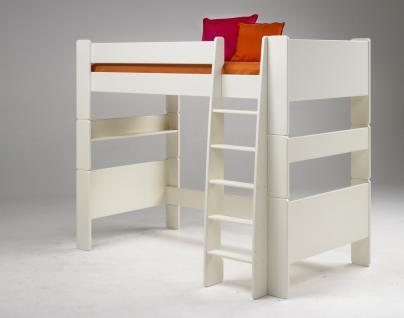 Hochbett Kinderbett MDF weiß lackiert Kinderzimmer mit Leiter Jugendbett