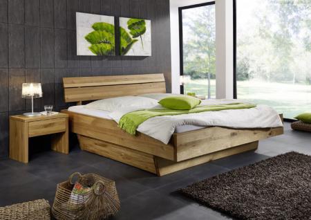 Doppelbett Bett Holzbett Wildeiche massiv Schubladen Balken rustikal 200x200