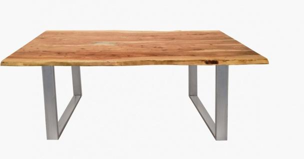 TISCHE & BÄNKE Tisch 200x100 Akazie Natur Stahl Silber