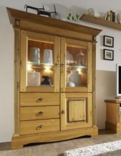 vitrinenschrank vitrine geschirrschrank schrank rechts kiefer massiv patiniert kaufen bei saku. Black Bedroom Furniture Sets. Home Design Ideas