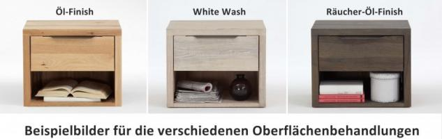 Nachttisch Nachtkommode Schublade Balkeneiche Eiche massiv White Wash rustikal - Vorschau 2
