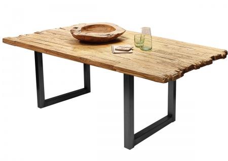 TABLES&Co Tisch 200x100 Recyceltes Teak Natur Metall Schwarz