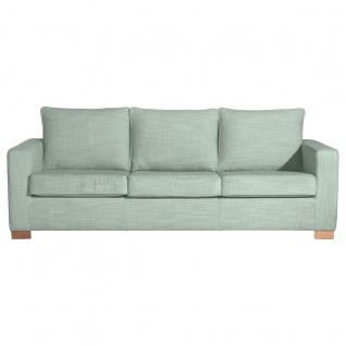 Nebraska Sofa 3-Sitzer Chenille Eisblau Buche Natur