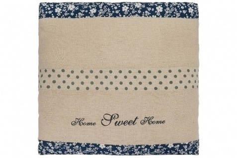 Kissen Home Sweet Home groß Baumwolle Weiß&Blau