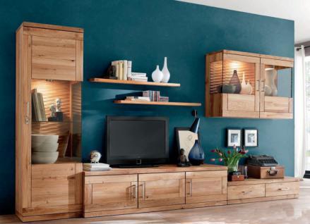 Wohnwand Wohnzimmer TV-Board Wandboard Vitrinenschrank Wildeiche massiv geölt