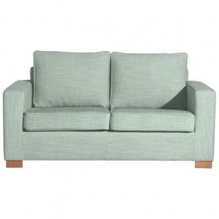 Nebraska Sofa 2-Sitzer Chenille Eisblau Buche Natur