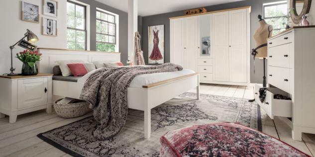 Schlafzimmer Komplett Set 5 Tlg Doppelbett Kleiderschrank Kommode