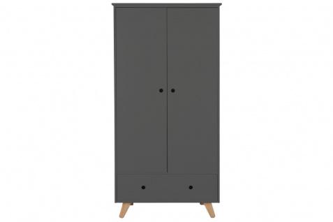 Kleiderschrank Schrank 2 Türen und 1 Schublade MDF und Pinie Grau und Natur
