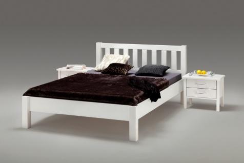 Bett Ben 140x200 Buche Massiv Weiß
