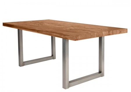 TISCHE&BÄNKE Tisch 220x100 Balkeneiche Eisen Natur Antiksilber