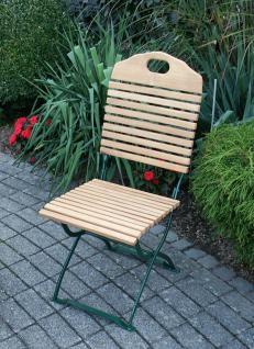 Gartenstuhl 2er Set Gartenmöbel Stuhl Klappstuhl Biergarten Robinie Stahl grün