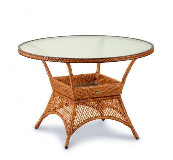 Tisch Rundtisch rund Gartentisch Geflecht Kunstfasergeflecht Karamell weiß