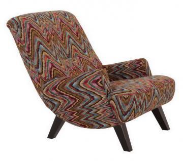 Sessel Liegesessel Relaxsessel mit Hocker Retro Stil ozean Muster farbig bunt - Vorschau 1