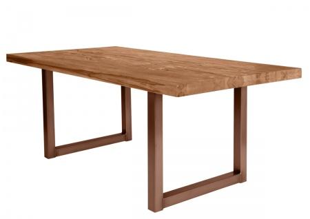 TISCHE&BÄNKE Tisch 200x100 Balkeneiche Eisen Natur Antikbraun