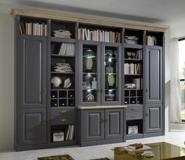 Wohnwand System Bibliothek Kiefer massiv basaltgrau grau Wildeiche individuell - Vorschau