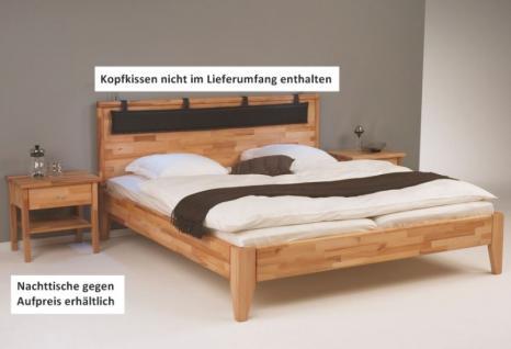 Bett mit Kopfteil Ehebett Überlänge Kernbuche massiv geölt - Vorschau 1