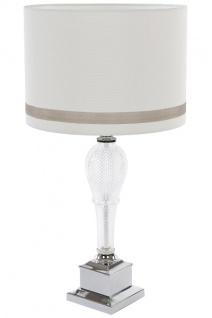 Tischlampe Annalena Metall&Glas Silber&Weiß