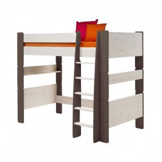 Hochbett Kinderbett Bett Kiefer massiv weiß stone teilbar Leiter Kinderzimmer