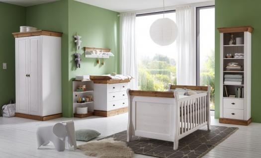 Helsinki Kinderzimmre Komplett Set Kiefer Weiß Lauge Schrank + Bett + Wickelkommode + Regal