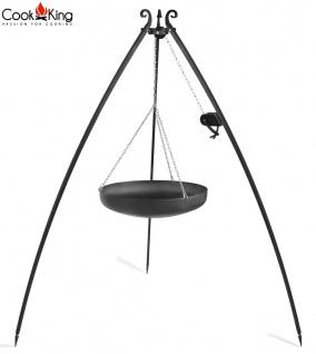 Schwenkgrill mit Wok am Dreibein 200 cm Rohstahl Durchmesser 60 cm mit Kurbel