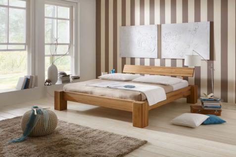 kompaktes Bett Doppelbett massive Eiche Überlänge vollmassiv rustikal