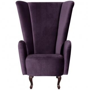 Aurora Hochlehnsessel Samtvelours Purple Buche Nussbaumfarben