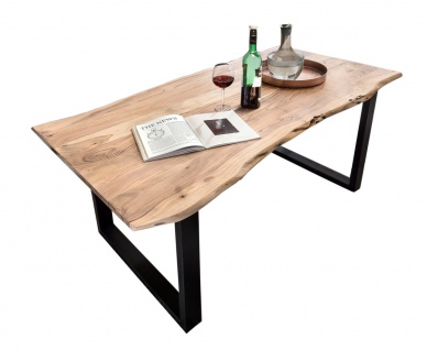 TISCHE&BÄNKE Tisch 140x80 Akazie Natur Stahl Schwarz