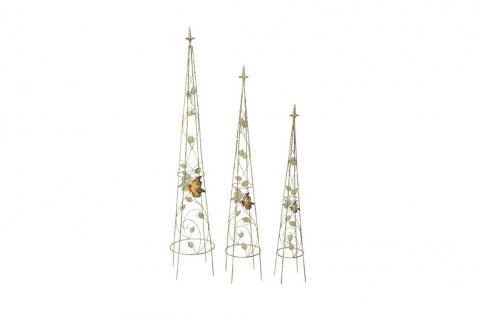 Rankpyramiden-Set 3-tlg.Metall Antikgrün Blätter Schmetterlinge