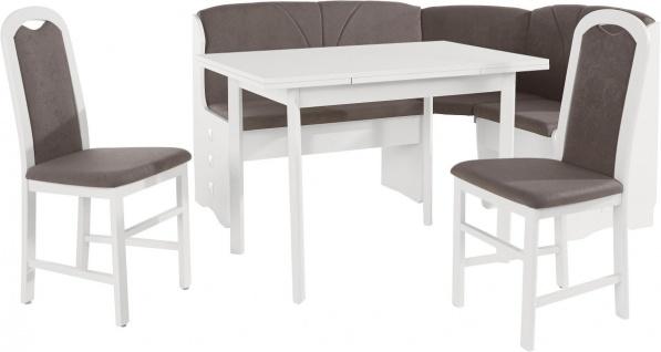 Eckbankgruppe Paris in Buche teilmassiv mit Eckbank Tisch 2 Stühle Weiß