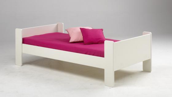 Kinderbett Jugenbett Gästebett MDF weiß Bett Einzelbett mit Lattenrost schlicht