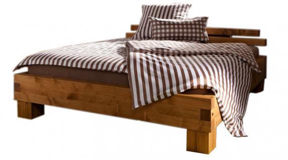 Bett Doppelbett + Kopfteil Fichte Kiefer massiv natur gewachst gebeizt rustikal - Vorschau 1