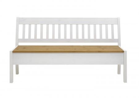 Sitzbank Bank Kiefer massiv Weiß 169x58 cm