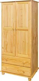 Kleiderschrank Kiefer massiv Natur lackiert 2 Türen 2 Schubladen