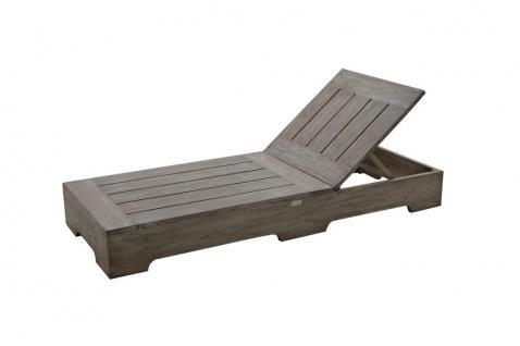 Sonnenliege Gartenliege Liege Relaxliege Teak FSC grau Gartenmöbel Loungeliege