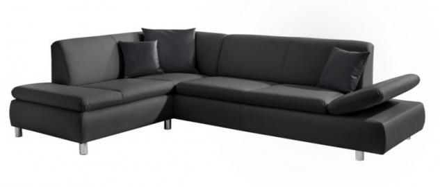 Polsterecke Garnitur Ecksofa Sofa Kunstleder schwarz weiß Lederlook pflegeleicht