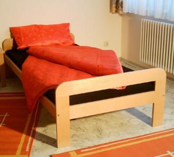 Einzelbett Bett Gästebett 100x200 Buche massiv natur lackiert Kinderbett