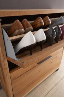 Schuhschrank Schuhkommode 2 Klappen Balken Eiche massiv natur geölt White Wash - Vorschau 3