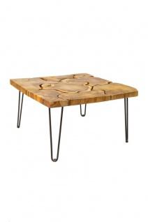 Root Couchtisch Quadratischer recyceltem Holz, Gestell Eisen Natur