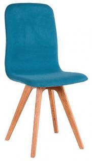 Schalenstuhl Stuhl Esszimmer modern blau Eiche massiv hellblau Samtig