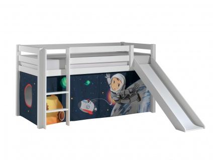 Spielbett mit Rutsche Pino Kiefer massiv 90 x 200 cm Weiß