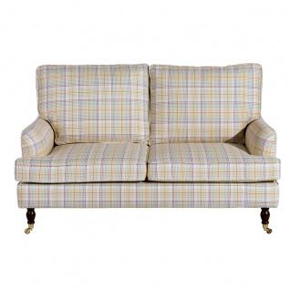 Passion Sofa 2-Sitzer Flachgewebe Gelb Multicolor Buche Nussbaumfarben