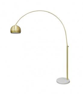 Bogenlampe Messing Marmorfuß Kunststoff Weiß