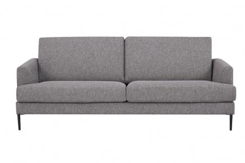 Sofa 3-Sitzer Metall Schwarz Strukturstoff Taupefarben