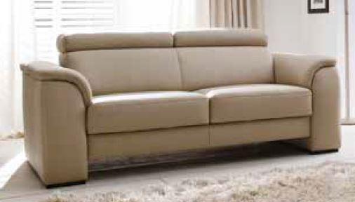 Couch Sofa Ledersofa Echtleder Leder hell 2 Sitzer Sitzvorschub Holzfüße