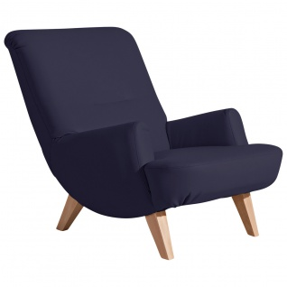 Brandford Sessel Polyurethan Dunkelblau Buche Natur