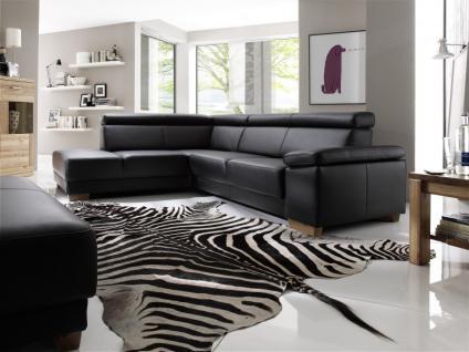 Garnitur Polsterecke Eckgarnitur Ledergarnitur Couch Funktionssofa schwarz Leder W1
